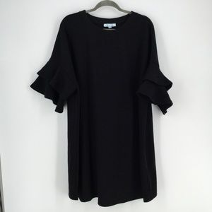 She+Sky Black Dress 2XL Flared Tiered Sleeve Midi